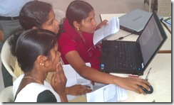 Young girls on video training